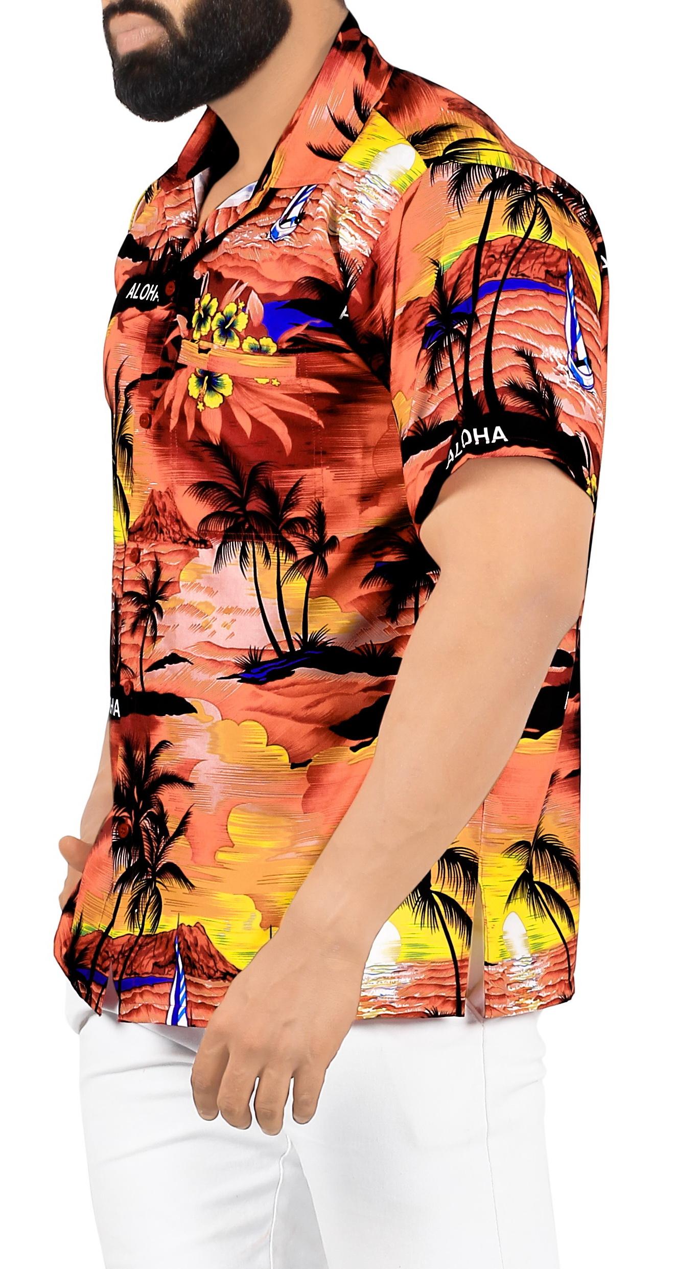 Indexbild 5 - La Leela Herren Relaxed Kurzarm Button Down Casual Hawaii Shirt bedruckt D