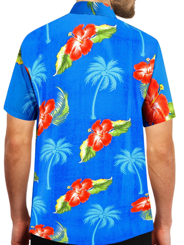 Indexbild 8 - Herren Hibiskus Palme Aloha Hawaii kurzen Ärmeln Knopfleiste Hawaii Shirt