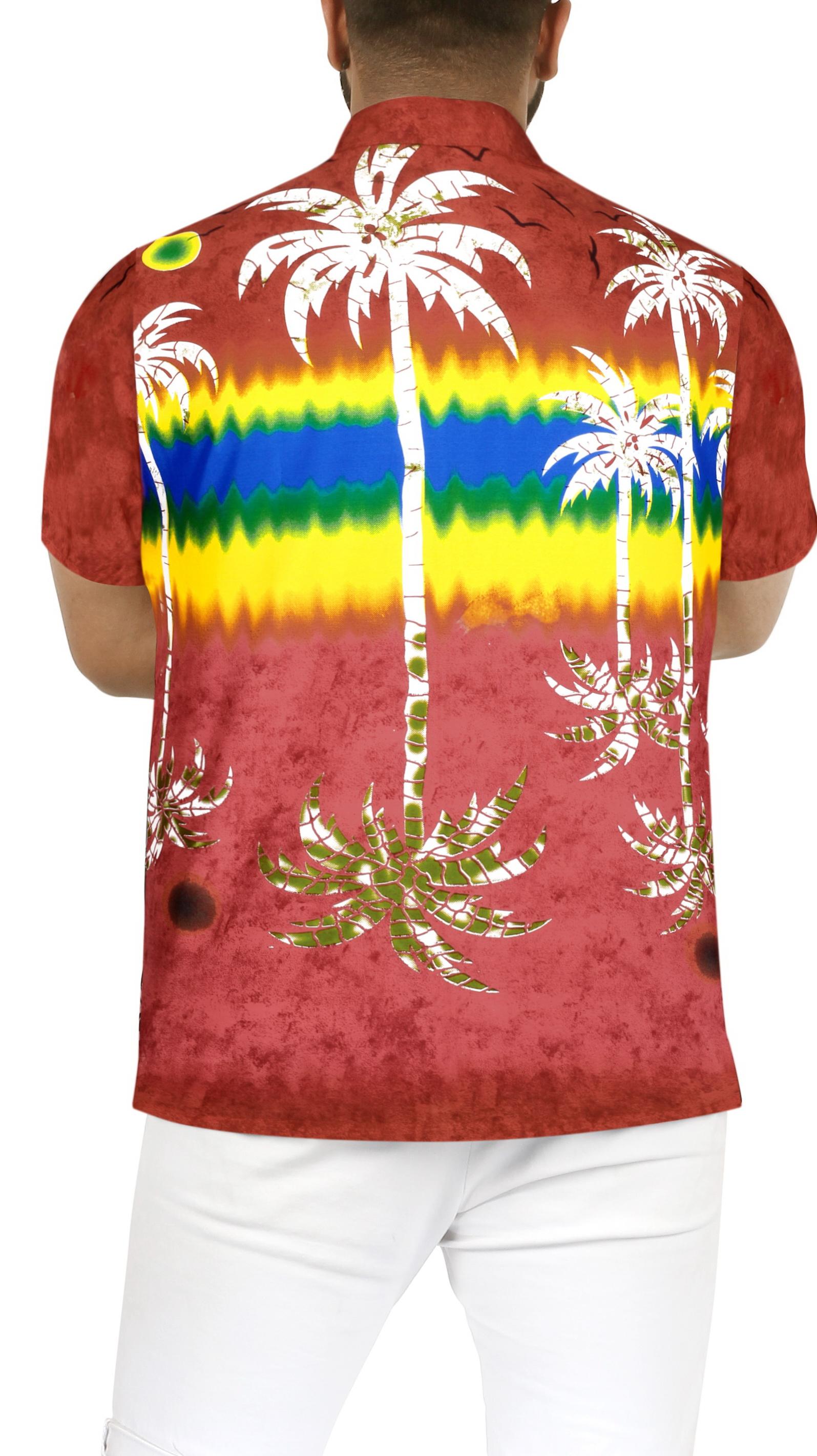Indexbild 13 - Herren Hibiskus Palme Aloha Hawaii kurzen Ärmeln Knopfleiste Hawaii Shirt