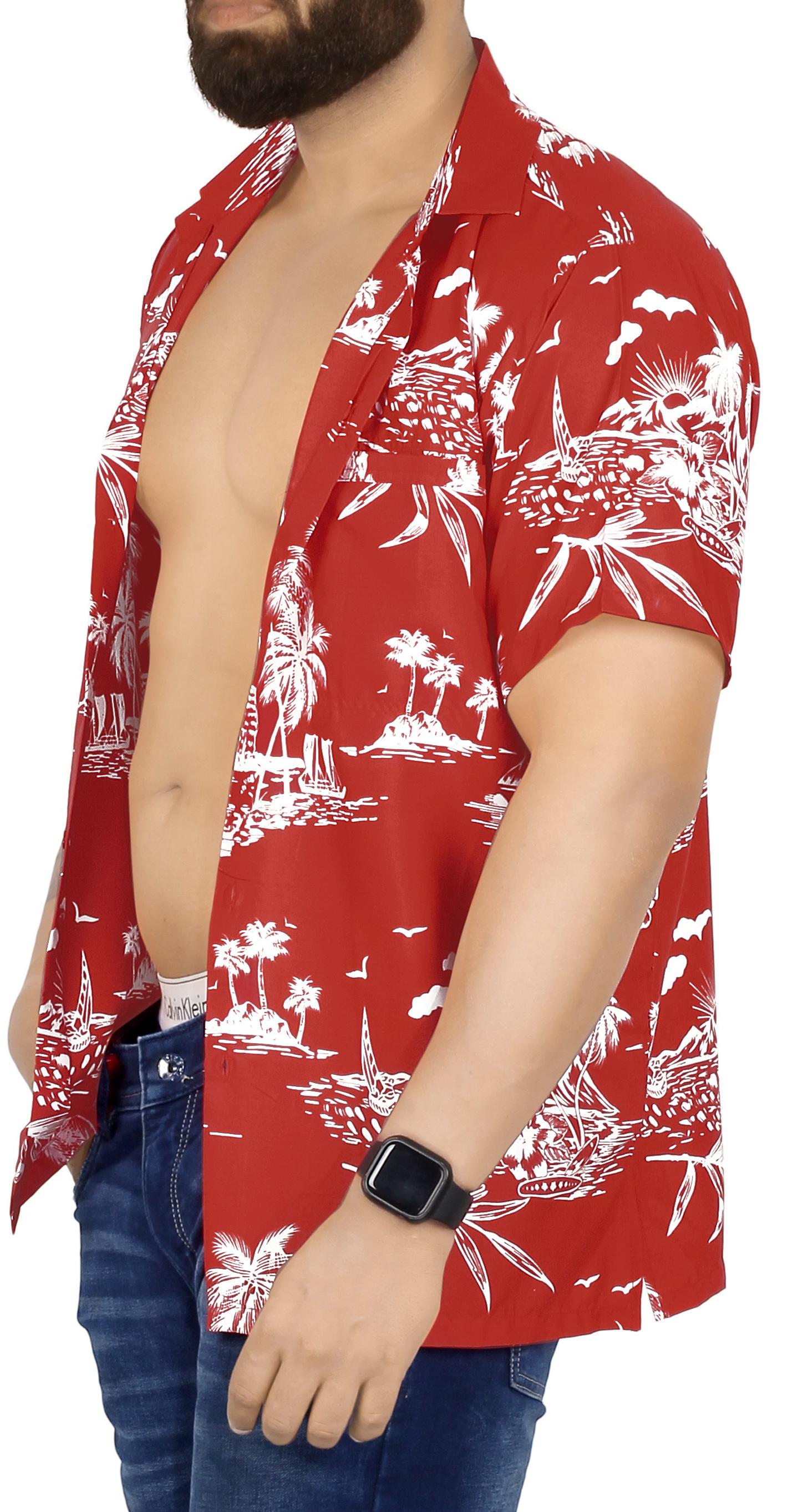 Indexbild 8 - La Leela Herren Relaxed Kurzarm Button Down Casual Hawaii Shirt bedruckt D