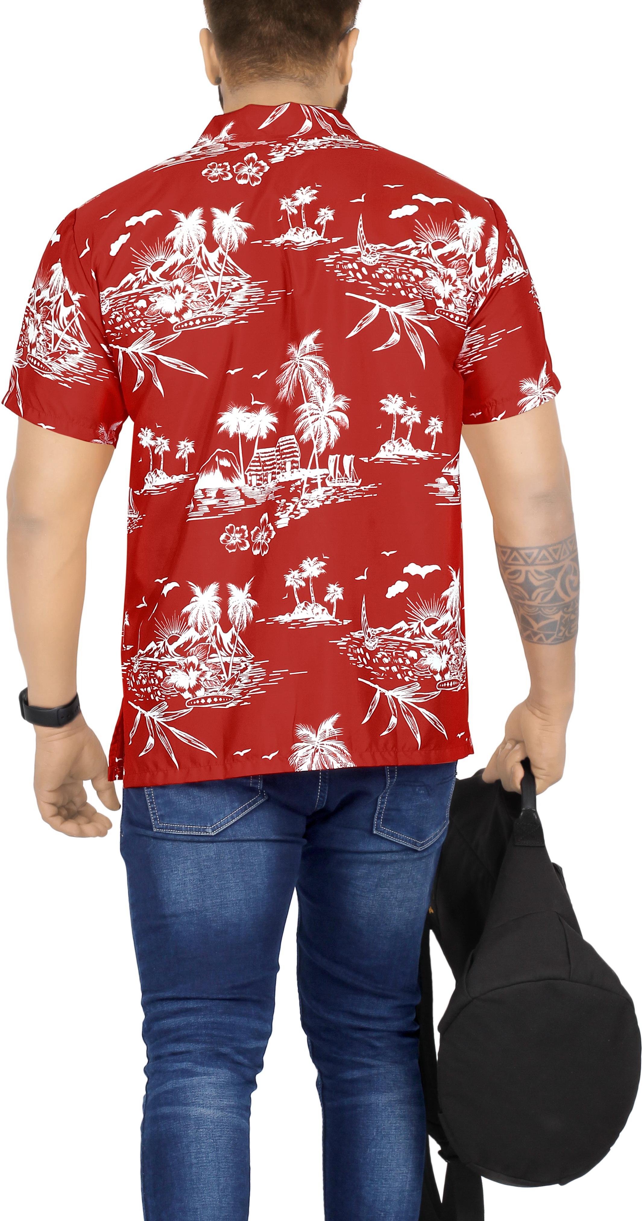 Indexbild 9 - La Leela Herren Relaxed Kurzarm Button Down Casual Hawaii Shirt bedruckt D