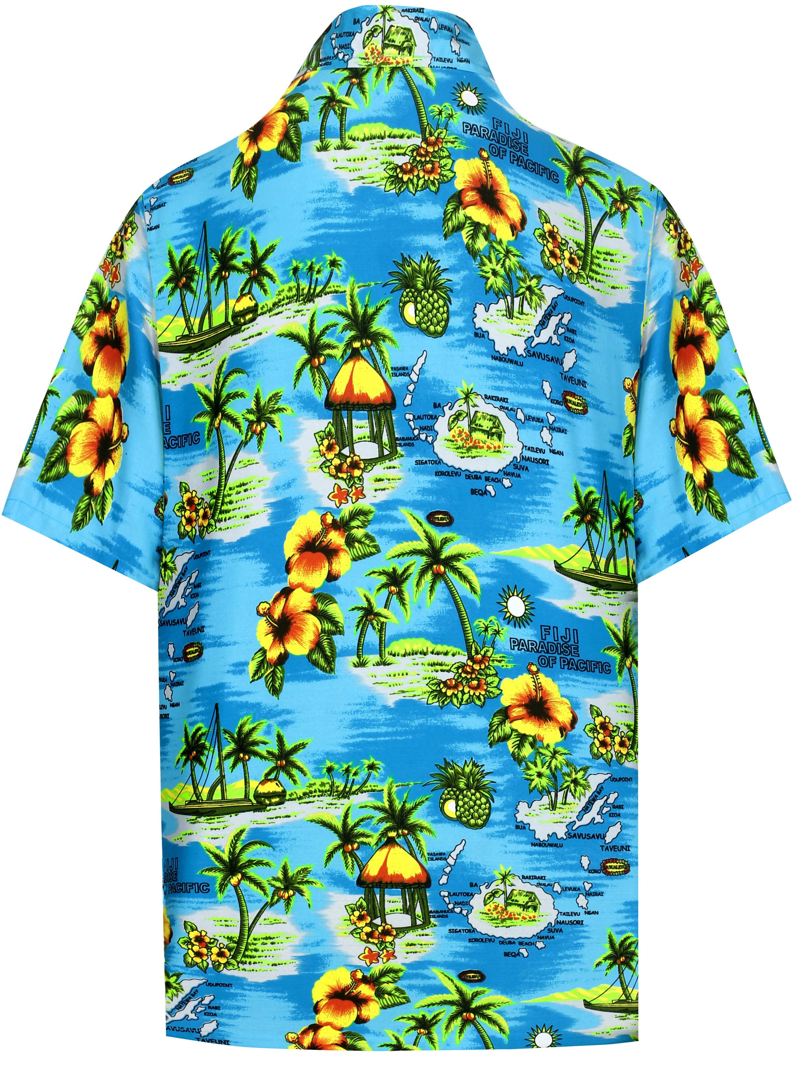 Indexbild 5 - Herren Hibiskus Palme Aloha Hawaii kurzen Ärmeln Knopfleiste Hawaii Shirt